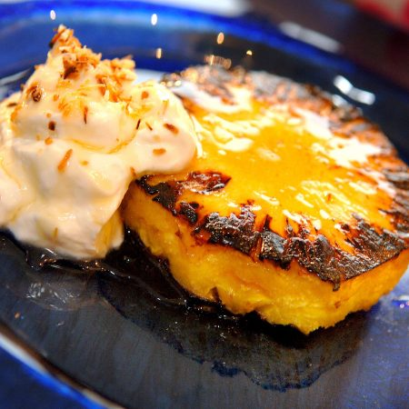 Grilled pineapple with low fat Greek Yogurt and honey.